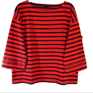 J. Crew Stripped Boatneck 3/4 Sleeve Top, Sz M